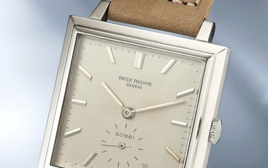Patek Philippe, Ref. 3485 A highly rare and attractive white gold square-shaped wristwatch