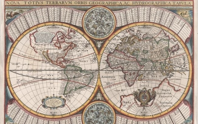 "Scarce World Map with Unusual Decorative Elements, ""Nova Totius Terrarum Orbis Geographica ac Hydrographica Tabula"", Sonnius, Jean"