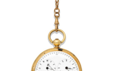 Siegrist & Cie, Chaux de Fonds. A continental gold key wind full hunter pocket watch with dual time zone and compass