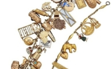 Two early 20th century gold charm bracelets,...