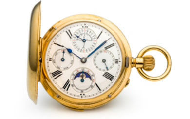 UNSIGNED, PERPETUAL CALENDAR MINUTE REPEATER POCKET WATCH, YELLOW GOLD
