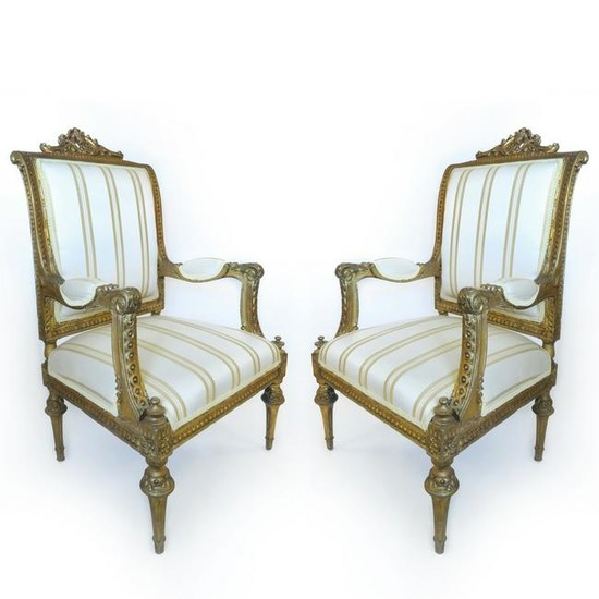19th C. Pair of French Napoleon III Arm Chairs