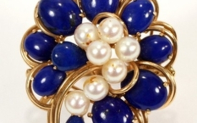 14KT YELLOW GOLD PEARL AND LAPIS RING
