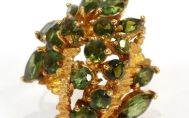18KT YELLOW GOLD AND TOURMALINE CLUSTER RING 1 1