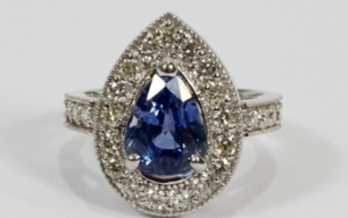 3.73CT NATURAL SAPPHIRE GIA 1.10CT DIAMOND I VS 14KT WHITE GOLD RING SIZE 7 T.W. 6.4 GR
