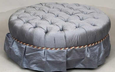 BAKER FURNITURE TUFTED CLOTH OTTOMAN 15 DIA 37