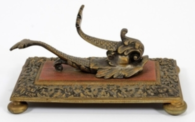 BRASS DOLPHIN FORM INKWELL