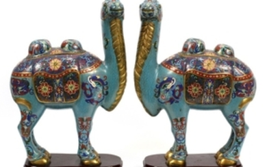 CHINESE CLOISONNE CAMEL CANISTER SET WITH STANDS PCS 17 12