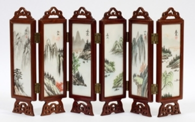 CHINESE PORCELAIN WOOD HANDPAINTED PANELED FOLDING SCREEN 2