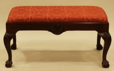 DREXEL HERITAGE CHIPPENDALE STYLE UPHOLSTERED MAHOGANY BENCH 19 19 39
