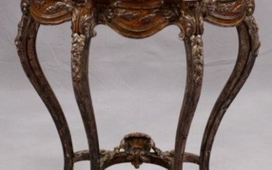 FLORENTINE PAINTED CARVED WOOD CONSOLE TABLE WITH ALABASTER TOP 32 30 13