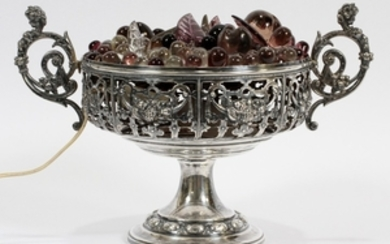 FRUIT BASKET FORM GLASS AND SILVER PLATE LAMP DIA 13