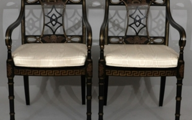PAIR GOTHIC BLACK LACQUERED OPEN ARM CHAIRS 33 21.5 21