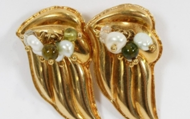 GREEK 18KT YELLOW GOLD PEARL AND PERIDOT EARRINGS 1