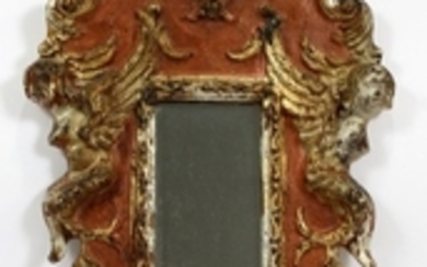 ITALIAN CARVED POLYCHROME MIRROR 19TH C. 23 13