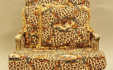 JOHN WIDDICOMB CHEETAH AND CHINOISERIE PAINTED AND CARVED WOOD BERGERE 37 28