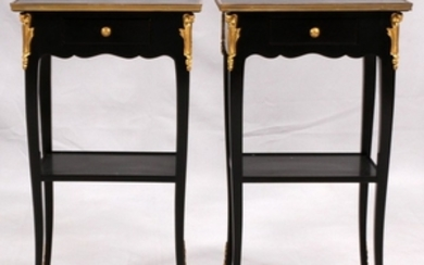 MODERN BLACK LACQUER GILT BRONZE END TABLES PAIR 26 14 11