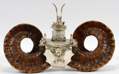 RAM HORN AND SILVER PLATE INKWELL 11 17
