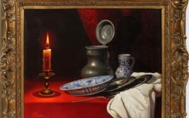 RUGE OIL ON CANVAS 19 24 STILL LIFE OF CANDLE DISHES