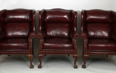 SCHAFER BROTHERS WINGBACK LEATHER CHAIRS PCS. 48 34 36