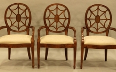 SET SHERATON STYLE OVAL BACK OPEN ARM CHAIRS 39 23.5