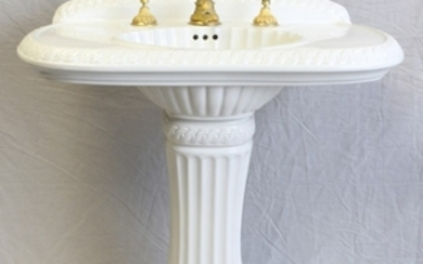 SHERLE WAGNER SHELL FORM PORCELAIN PEDESTAL SINK LATE 20TH C 34 35 34