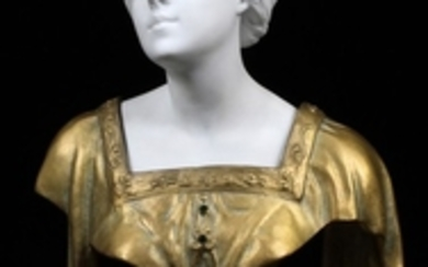 THÉOPHILE FRANÇOIS SOMME FRENCH 1871 1952 FRENCH BRONZE BISQUE BUST OF WOMAN