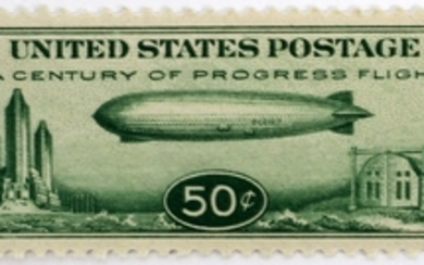 U.S GRAF ZEPPELIN AIR SHIP UNUSED STAMP NH OG VF BRIGHT GREEN SLEEVE MOUNT PERF 11 CENTURY OF PROGRESS 1933