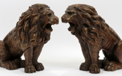 VENETIAN CARVED WOOD SEATED LIONS C1800 PAIR 12 16