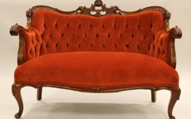 VICTORIAN HAND CARVED MAHOGANY SETTEE 35 48 26