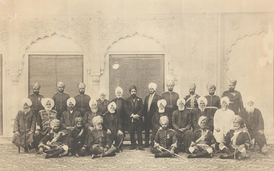 Two large group photographs of Maharajah Hira Singh of Nabha State (reg. 1871-1911), his heir (and later Maharajah) Prince Ripudaman Singh, and courtiers