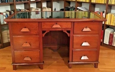 Ministerial presidential desk bi-facial green eco-leather - Victorian Style