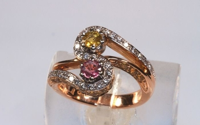 18 kt. Pink gold - Ring - Diamonds, Pink sapphires, yellow sapphires