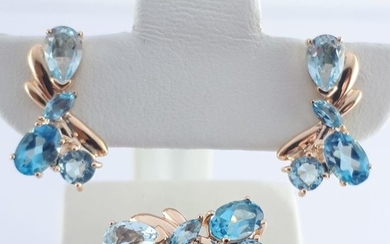 14 kt. Pink gold - Ladie's Ring & Earring Set With Blue Topaz- 4.50 ct Topaz