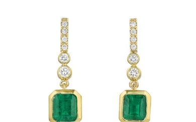 A Pair of Colombian Emerald and Diamond Earrings, 1.42 CTW