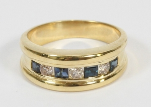 .40CT NATURAL SAPPHIRE DIAMOND J SI 14KT GOLD BAND SIZE 6.5 T.W. 4.7 GR