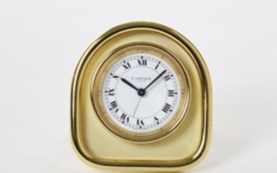 CARTIER Metal travel clock Recent production Dial, movement and...