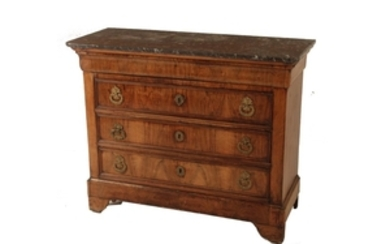 LOUIS PHILIPPE WALNUT MARBLE TOP COMMODE