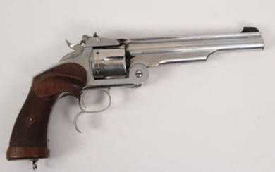 Smith and Wesson model 3 nichel break top revolver 6 shot in 22 rimfire