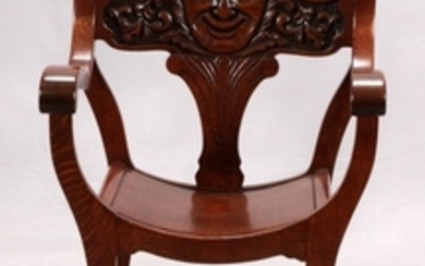 AESTHETIC MOVEMENT CARVED OAK MOON FACE CAMPAIGN CHAIR C1880 37 24 17
