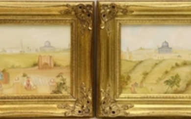 ALICE PATTERSON OILS ON CANVAS DESERT LANDSCAPES WITH TEMPLE PAIR 10 13