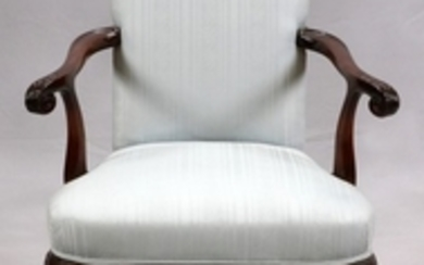 AMERICAN MAHOGANY AND UPHOLSTERED ARMCHAIR AND FOOTSTOOL C1920 PCS. 38 28