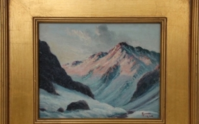 ATTRIBUTED TO LOUIS CHARLES VOGT AMERICAN 1864 1939 OIL ON BOARD MOUNTAINSCAPE
