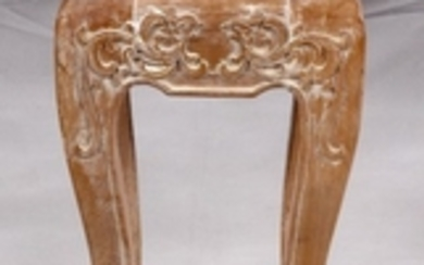 CHINESE CARVED WOOD PEDESTAL TABLE 28 11 11