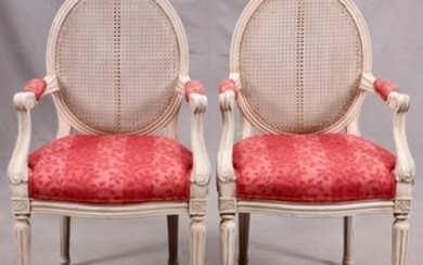 CONTEMPORY LADIES CARVED WOOD ARM CHAIRS PAIR 25