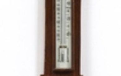 ENGLISH OAK BAROMETER AND THERMOMETER C1900 29