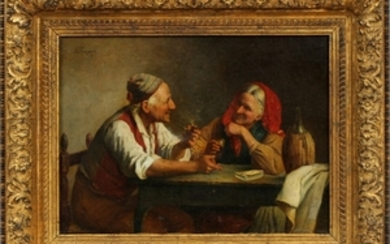 EUGENIO ZAMPIGHI ITALY 1859 1944 OIL ON CANVAS 13 19 GAME OF CARDS