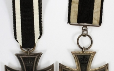 GERMAN WW1 2ND CLASS IRON CROSS AND MATCHING COAT MEDAL WITH RIBBONS 1914 PCS.