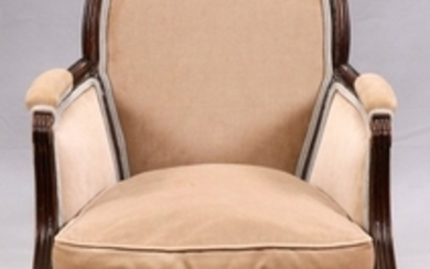 LOUIS XVI STYLE UPHOLSTERED AND CARVED WALNUT ARM CHAIR C1930 36 26 21