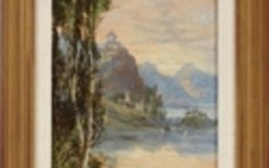 OIL ON ARTIST BOARD 18 5.5 LAKE AND MOUNTAIN LANDSCAPE